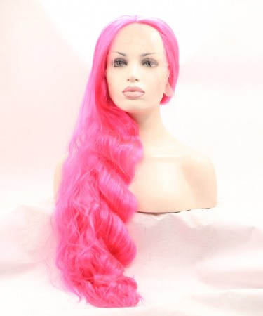 Pink Color Wavy Fashionable Synthetic Wig