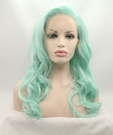 Light Green Wavy Fashionable Synthetic Wig