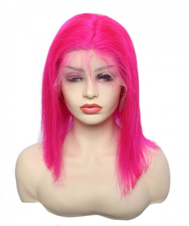 Light Red Human Hair Wigs Straight Bob Wave Colorful Lace Front Wigs For Black Women