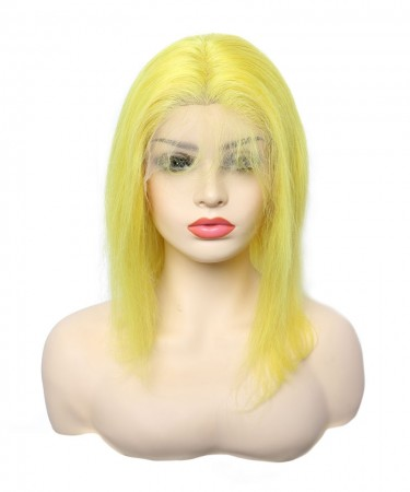 light Yellow Colorful Human Hair Wigs For Black Women For Cosplay Invisible Lace Frontal Wig With Baby Hair