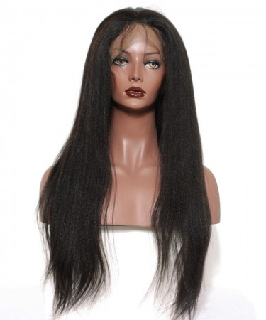 Full Lace Human Hair wigs Light Yaki Straight 120% Density Lace Wigs 22 inches