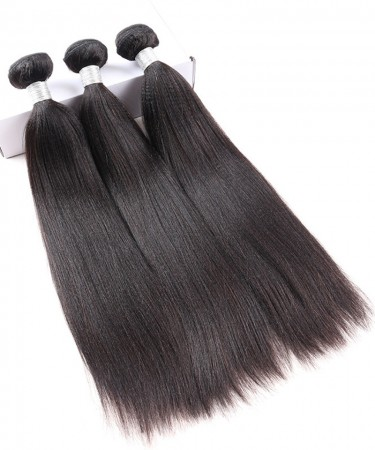 100% Human Hair 3 Pcs Yaki Straight Bundles Brazilian Virgin Hair