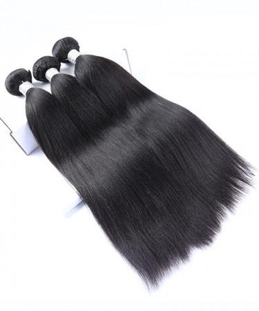 Malaysian Virgin Hair 100% Human Hair 3 Pcs Yaki Straight Bundles