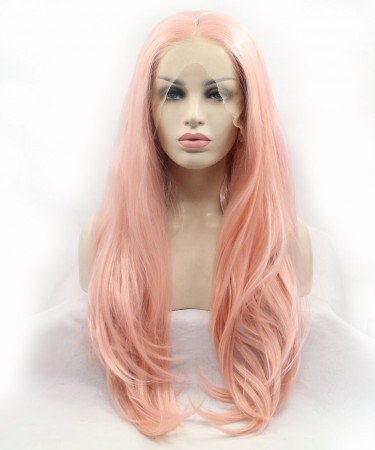 Pink Champagne Long Wavy Synthetic Wig