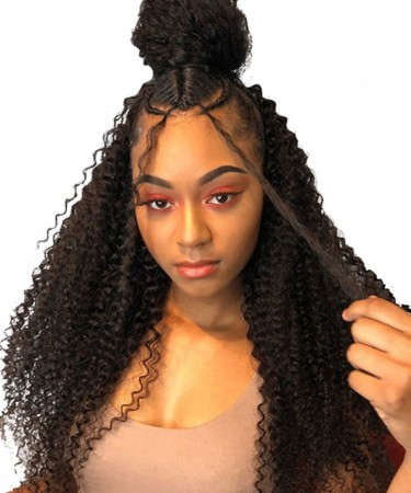 Msbuy Hair Wigs 360 Lace Frontal Wigs Pre Plucked With Baby Hair 180% Density Brazilian Lace Wigs Kinky Curly For Black Women