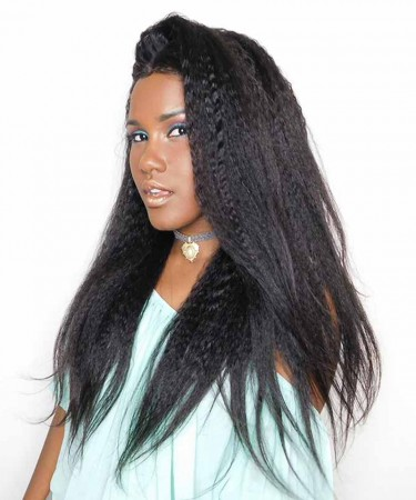 Kinky Straight 360 Lace Frontal Closure With 3 Bundles Natural Hairline