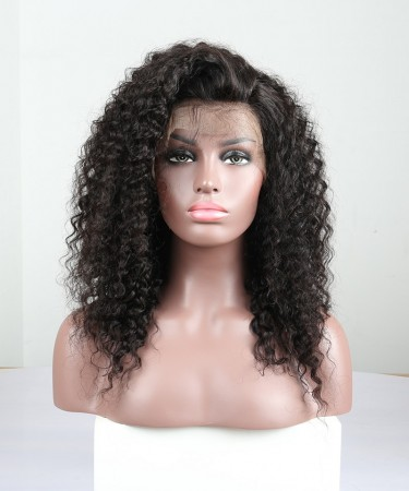 Brazilian Lace Wigs Deep Curly 18 inches 130% Density Pre-Plucked Natural Hairline