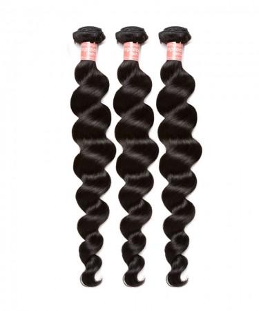 SALE! Brazilian Virgin Hair Loose Wave Human Hair Weave Bundles Natural Black Color 3 Piece Hair Extension