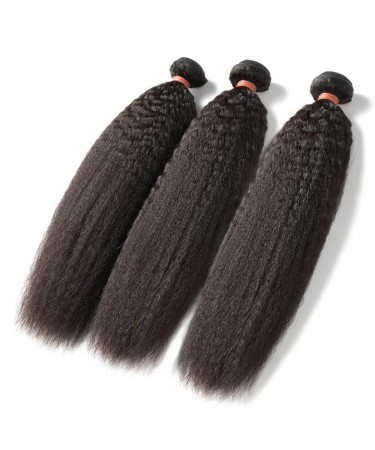 Malaysion Virgin Hair Kinky Straight 3 Pcs 100% Human Hair Weaving