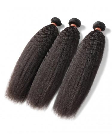 Peruvian Virgin Hair Kinky Straight 3 Pcs 100% Human Hair Weaving