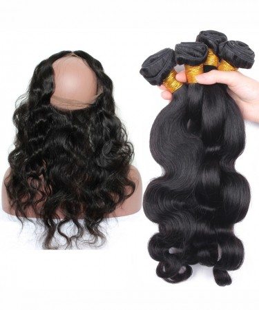 Body Wave 360 Lace Frontal Closure With 3 Bundles Natural Hairline