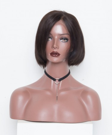Msbuy Bob Lace Front Wigs Pre-Plucked Natural Hair Line Bob Straight  Wig 150% Density