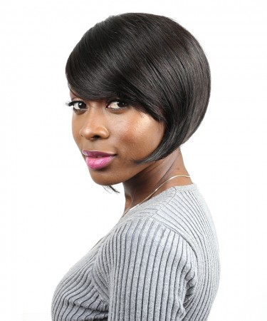 Straight Human Hair Wigs 100% Brazilian Short Bob Wig With 130% Density 1B Color