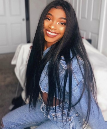 SALE! 150% Density 24inch Lace Front Human Hair Wigs Silky Straight Medium Cap Size