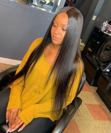 Msbuy 150% Density Lace Front Wigs Pre-Plucked Natural Hair Line Brazilian Straight Human Hair Wigs