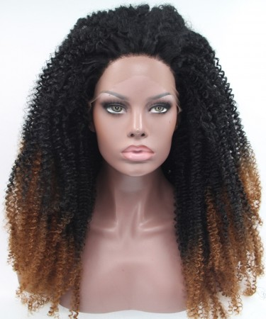 1B/Brown Afro kinky curly Synthetic Wig