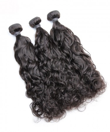 Peruvian Virgin Hair Bundles 3 Pcs Water Wave Cutile Kept Remy Hair Weaves