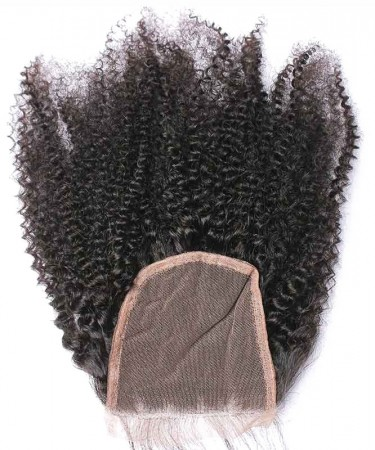 Msbuy Hair Afro Kinky Curly 4x4 Lace Closure 100% Human Hair Lace Top Closure With Baby Hair For Black Women