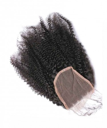 Afro Kinky Curly 4x4 Lace Closure 100% Human Hair Top Closure