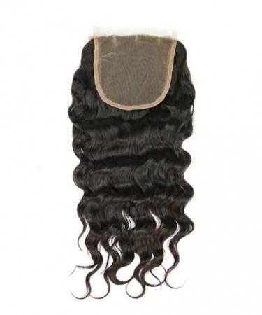 5x5 Lace Closure Brazilian Loose Wave Remy Hair Natural Color