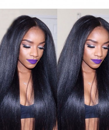 Silk Base Full Lace Human Hair wigs Light Yaki Straight 120% Density Lace Wigs 12 inches