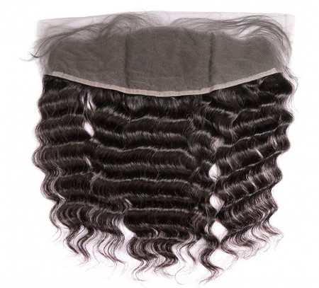 Natural Color Deep Wave Human Hair Natural Hairline 13x4 Lace Frontal