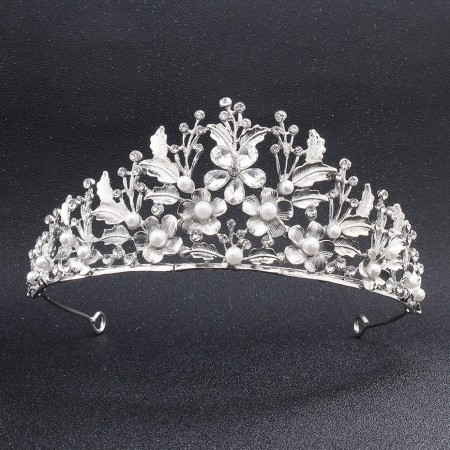 Leaf flower pearl bridal crown 1PCS