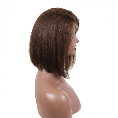 Color #4 Short Human Hair Wigs Brown Colored Straight Bob Lace Front Wigs 13X4 130% Density