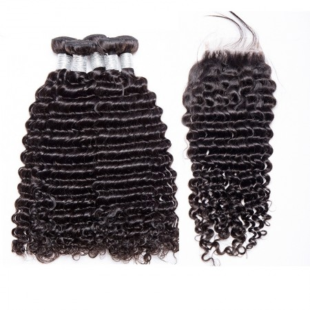 Brazilian Deep Curly Lace Closure with 3 Bundles Human Hair Free Part Natural Color