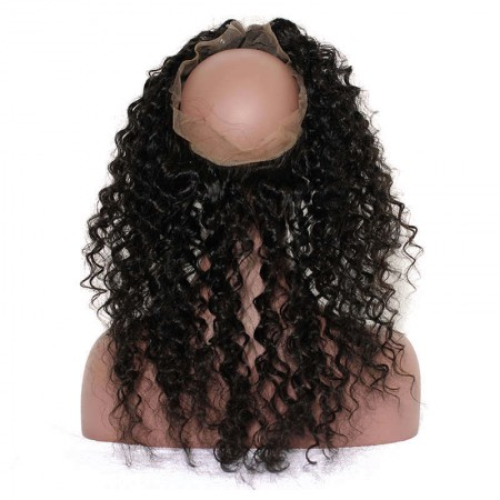 Pre Plucked Deep Wave 360 Lace Frontal Closure With Baby Hair Free Part