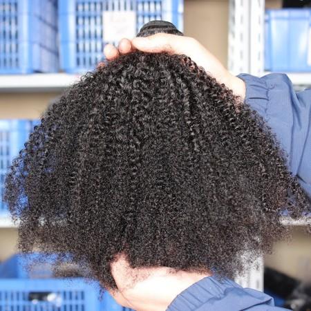 Msbuy Afro Kinky Curly Hair Weave Bundles 4B 4C 100% Mongolian Afro Kinky Curly Human Hair Extensions Natural Hair Weave 3Pieces