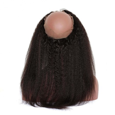 Kinky Straight 360 Lace Frontal Closure Pre Plucked With Baby Hair