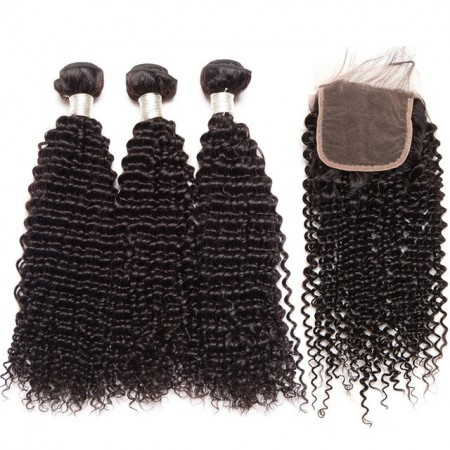 Brazilian Kinky Curly Virgin Human Hair Weave With Closure 100% Human Hair Lace Closure with 3 Bundles