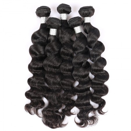 Peruvian Virgin Hair Loose Wave Human Hair Weave Bundles Natural Color 3 Bundles