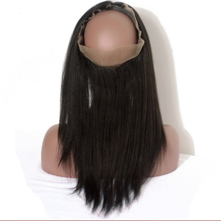 Brazilian Yaki Straight Human Hair 360 Lace Frontal With Natural Hairline