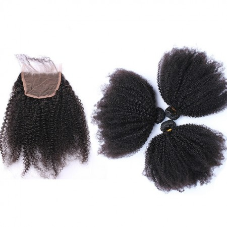 4x4 Afro Kinky Curly Lace Closure with 3 Bundles Free Part 100% Human Hair Extension