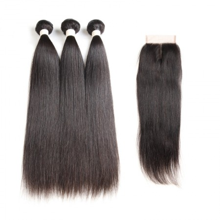 Brazilian Straight Hair Closure with 3 Bundles Natural Color 100% Human Hair