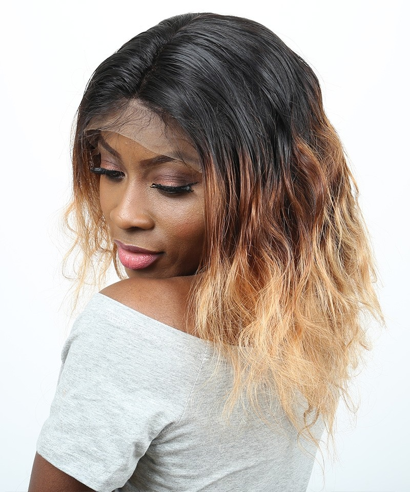1b427 Color 250 Denstiy Lace Front Human Hair Wigs With Baby Hair