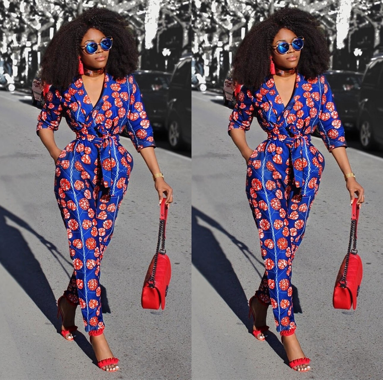 6f10f04d2f9 Womens Rompers Jumpsuit Summer 2018 New Women African Print Clothing 3 4  Sleeves Casual Sexy Fashion Party Wide Leg Pants