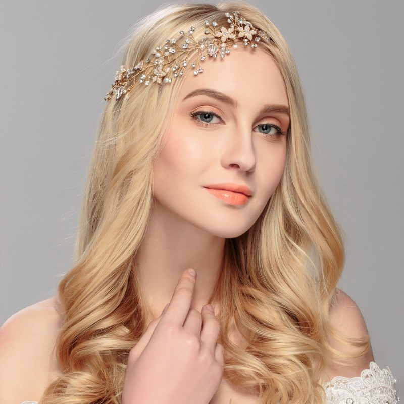 Gorgeous Rose Gold Crystal Rhinestone Pearls Wedding Hair