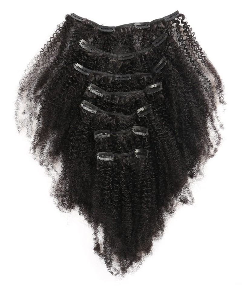 Afro Kinky Curly Clip In Human Hair Extensions Brazilian 100 Remy