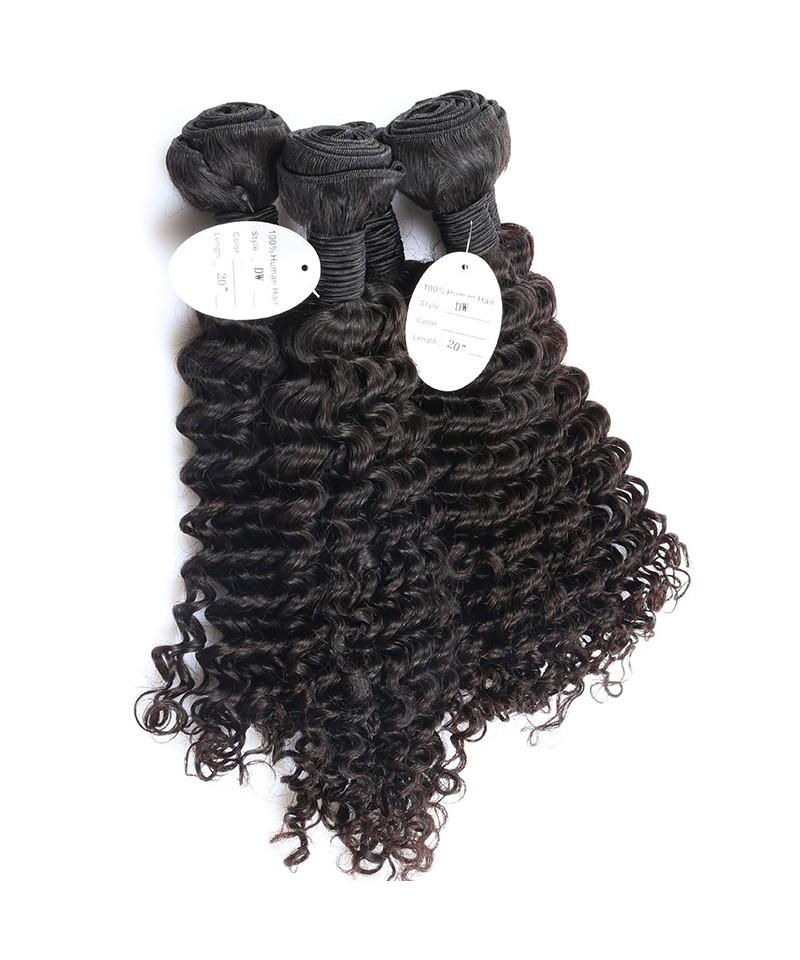 3 Bundles Deep Wave Brazilian Virgin Hair Unprocessed Human Hair