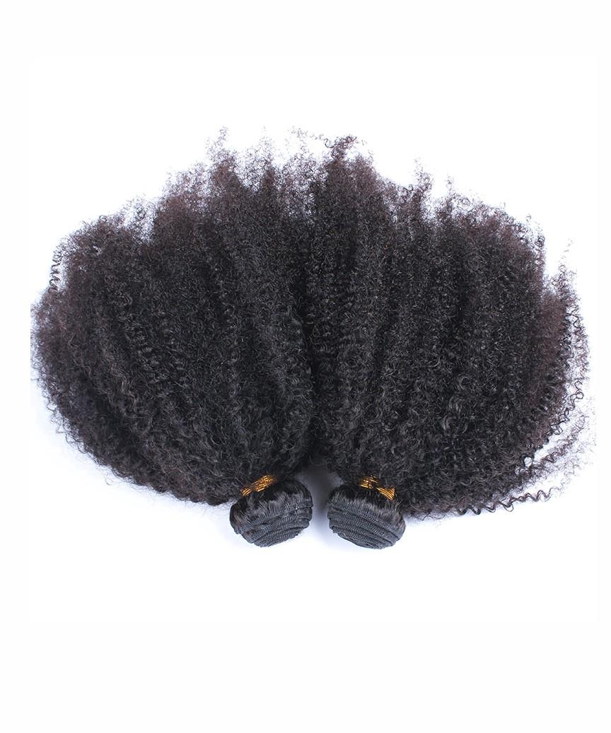 Afro Kinky Curly Virgin Hair Weave Double Weft Human Hair 3 Bundles