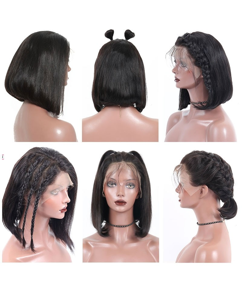 10Inch Short Human Hair Wigs 150% Density Straight Bob Wig For Women 360  Lace Frontal Wig Pre Plucked With Baby Hair Natural Black 89edb7c8252b