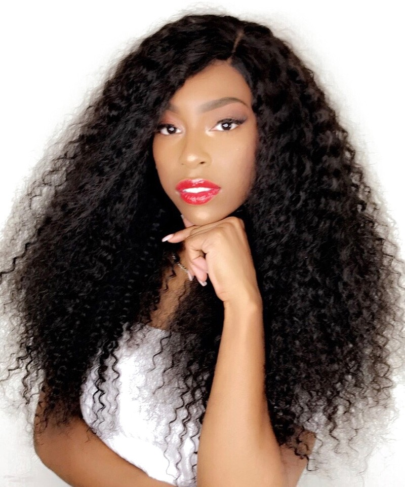 56157fd352b 250% Density Kinky Curly Human Hair Lace Front Wigs Black Women Hair ...