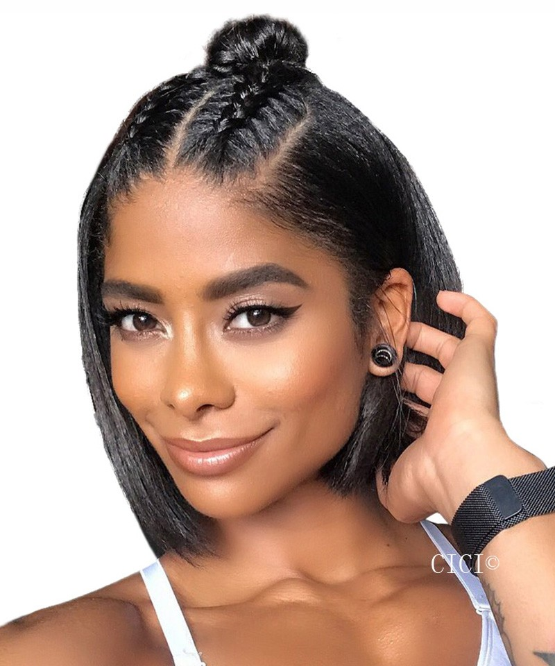 Short Straight Bob Style 360 Lace Frontal Wigs 150