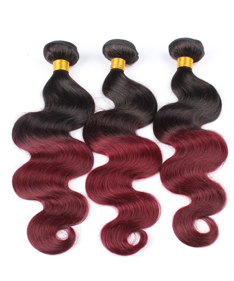 3 Pcs Ombre Brazilian Hair Weave Bundles 1b99j Burgundy Brazilian
