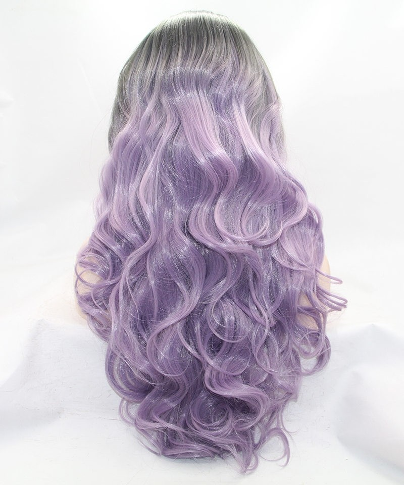 grey light purple ombre synthetic wig msbuy com