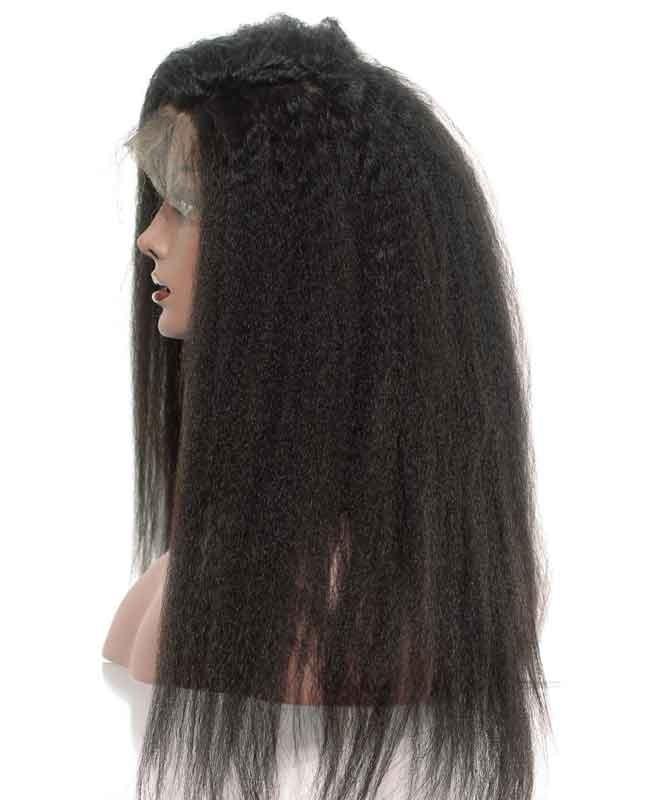 150 Density Lace Front Human Hair Wigs Kinky Straight Coarse Yaki Msbuy Com