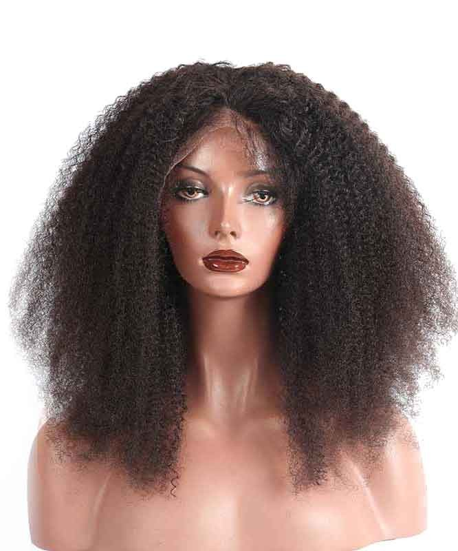 Lace Front Human Hair Wigs Afro Kinky Curly 150 Density